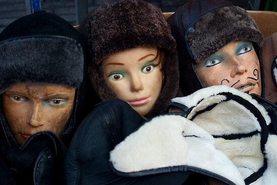 Mannequins and fur hats in a box by steppeland