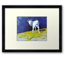 Strike A Pose - Amusing Acrylic Goat Painting Framed Print