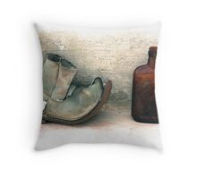 The Old Boot And An Empty Bottle Throw Pillow
