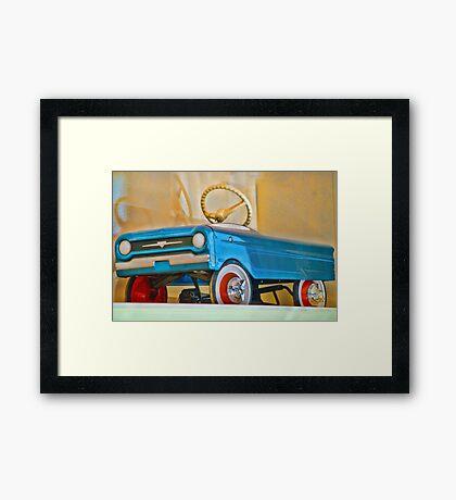 Child's Toy Blue Car Framed Print
