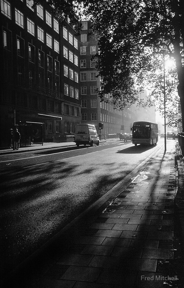 Early Morning Bus PS5 BW 19971122 0002  by Fred Mitchell