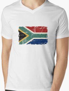 South Africa Flag - Vintage Look Mens V-Neck T-Shirt