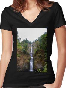 Oregon - Multnomah Falls Women's Fitted V-Neck T-Shirt