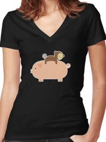 Baby Monkey Riding on a Pig Women's Fitted V-Neck T-Shirt
