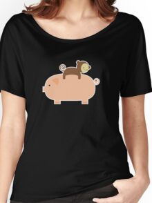 Baby Monkey Riding on a Pig Women's Relaxed Fit T-Shirt