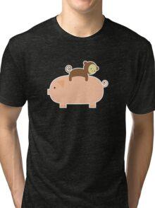 Baby Monkey Riding on a Pig Tri-blend T-Shirt