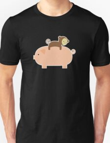 Baby Monkey Riding on a Pig Unisex T-Shirt