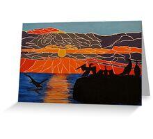 Cormorants basking in the sunrise Greeting Card