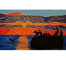 Cormorants basking in the sunrise Photographic Print