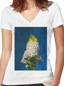 White Foxglove flowers on texture Women's Fitted V-Neck T-Shirt
