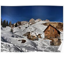 Mountain winter landscape, chalet, peak and snow Poster