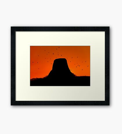 Sunset over Devils Tower .2 Framed Print