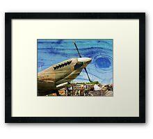 Spitfire Mk 1A aircraft on wood texture Framed Print