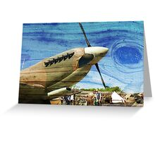 Spitfire Mk 1A aircraft on wood texture Greeting Card