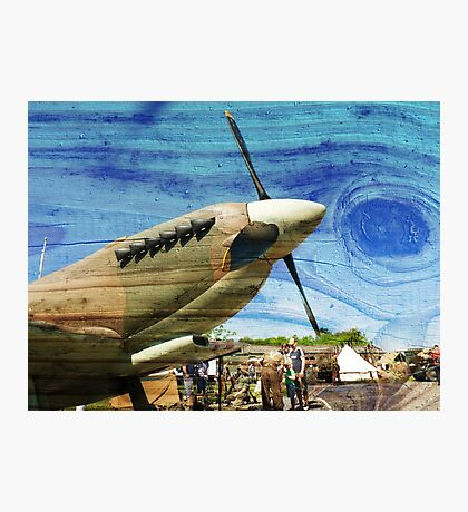 Spitfire Mk 1A aircraft on wood texture Photographic Print