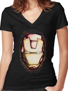 The Face of Iron Women's Fitted V-Neck T-Shirt