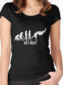 Get Rekt - Human Evolution (White) Women's Fitted Scoop T-Shirt
