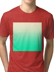 Trendy Teal to Vintage White Ombre Gradient Tri-blend T-Shirt