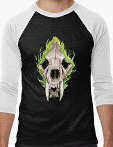 Flaming Skulls - Sabre Toothed Tiger Men's Baseball ¾ T-Shirt