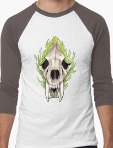 Flaming Skulls - Sabre Toothed Tiger Men's Baseball ¾ T-Shirt