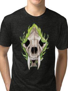 Flaming Skulls - Sabre Toothed Tiger Tri-blend T-Shirt
