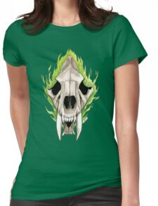 Flaming Skulls - Sabre Toothed Tiger Womens Fitted T-Shirt