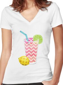 Cute Pink Chevron Lemonade with Lime Slice Women's Fitted V-Neck T-Shirt