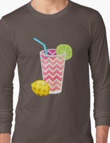 Cute Pink Chevron Lemonade with Lime Slice Long Sleeve T-Shirt