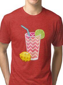 Cute Pink Chevron Lemonade with Lime Slice Tri-blend T-Shirt