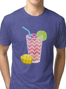 Cute Pink Chevron Lemonade with Lime Slice Tri-blend T-Shirt