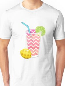 Cute Pink Chevron Lemonade with Lime Slice Unisex T-Shirt