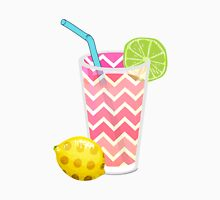 Cute Pink Chevron Lemonade with Lime Slice Womens Fitted T-Shirt