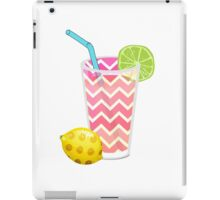 Cute Pink Chevron Lemonade with Lime Slice iPad Case/Skin