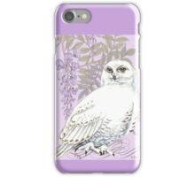 White Snow Owl Purple Wisteria iPhone Case/Skin