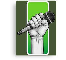 hand with microphone Canvas Print