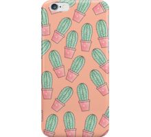 Cute Baby Faux Sparkly Cactus on Coral Pink iPhone Case/Skin