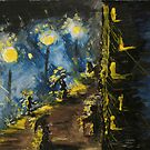 Impressionistic street at night by Barbora  Urbankova