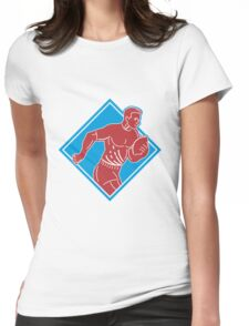 rugby player running with ball Womens Fitted T-Shirt