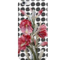 Watercolor Floral Cactus on Black White Polka Dots iPhone Case/Skin