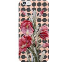 Watercolor Floral Cactus on Black Coral Polka Dots iPhone Case/Skin
