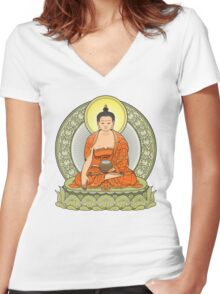 buddha color Women's Fitted V-Neck T-Shirt