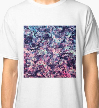 Teal, Pink, and Black Granite Marble Pattern Classic T-Shirt