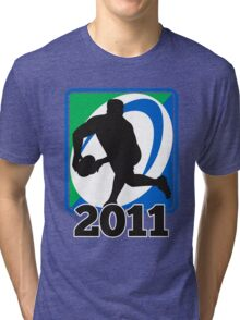 rugby player running passing ball Tri-blend T-Shirt