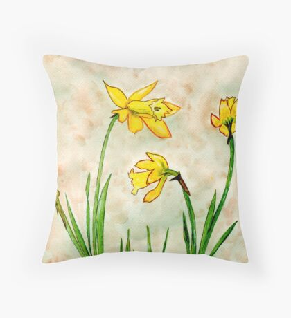 Daffodils of Spring Throw Pillow