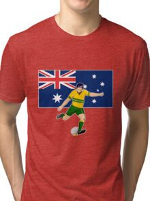 rugby player running kicking ball australia flag Tri-blend T-Shirt