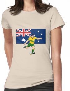 rugby player running kicking ball australia flag Womens Fitted T-Shirt