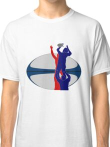 rugby player catching line out ball Classic T-Shirt