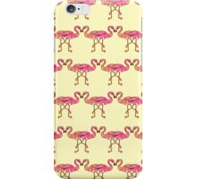Cute Pink Watercolor Flamingos on Summer Yellow iPhone Case/Skin