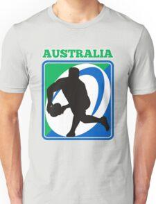 rugby player running passing ball Australia Unisex T-Shirt