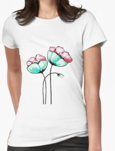 Beautiful Pink & Teal Watercolor Painted Flowers Womens Fitted T-Shirt